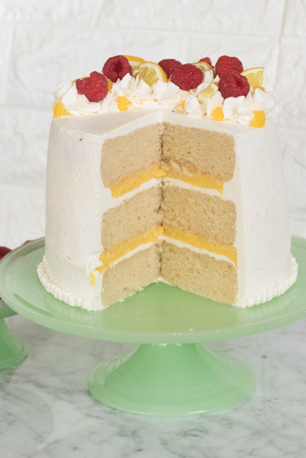 Layered Vanilla Cake with Lemon Curd & Italian Buttercream
