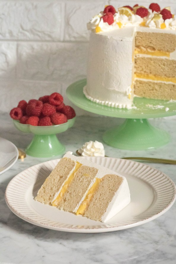 Layered Vanilla cake with lemon curd and Italian vanilla bean buttercream