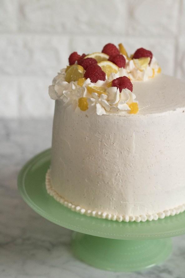 Lemon curd cake with a beautiful vanilla bean italian meringue Italian meringue
