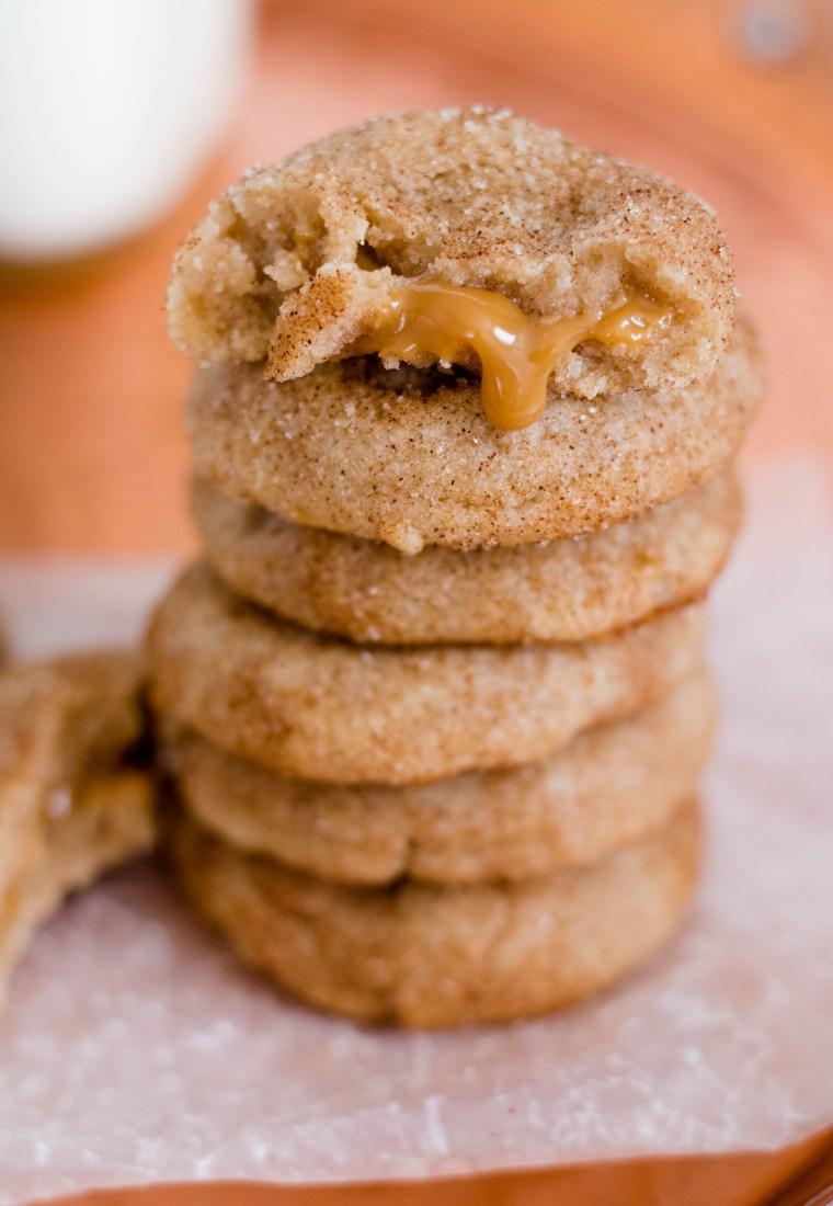 Dulce de Leche Stuffed Snickerdoodle Cookie