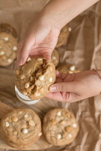 No chill brown butter white chocolate macadamia nut cookies