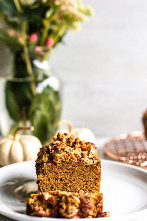 Paleo pumpkin pecan crumb bread for the 24 days of pumpkin recipes collection