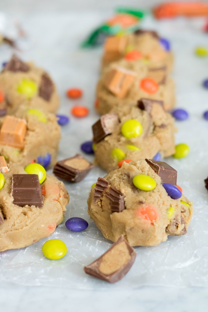Cookie dough with colorful chocolate and candy