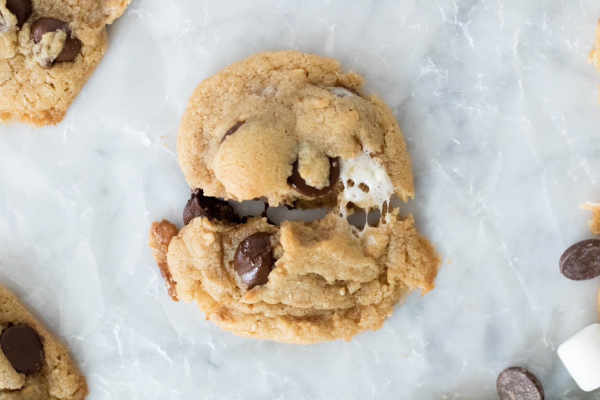 Overhead shot of a peanut butter s'mores cookies