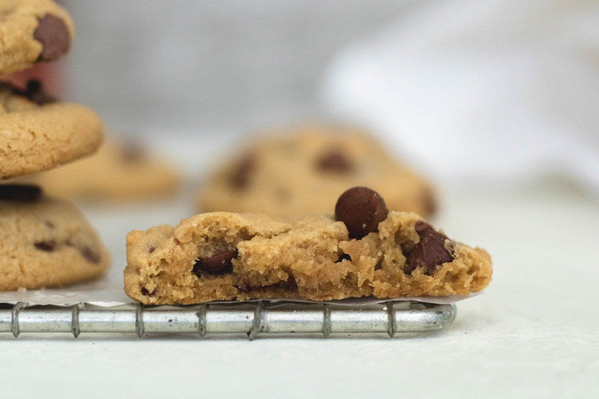 Chocolate chip cookie split in half to see the inside