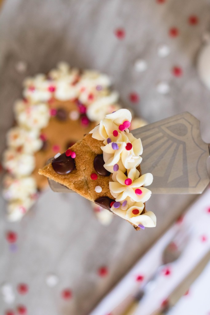 Chocolate chip heart cookie cake dessert for two