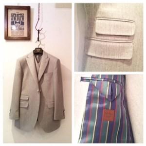 カジュアル新老衣装|ライトグレー|ピークドラペル