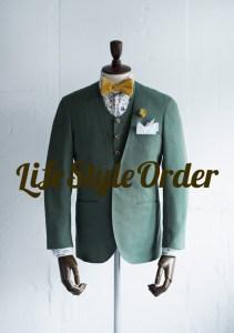 カジュアルウェディング新郎衣装,グリーンノーカラースーツ