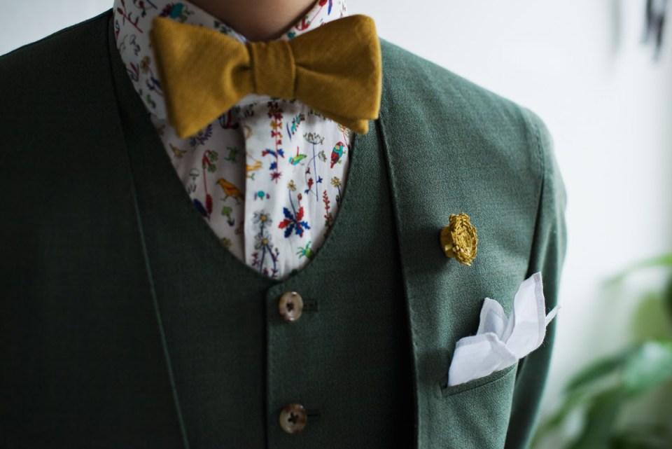 カジュアル新郎衣装,グリーンのウェディングスーツ