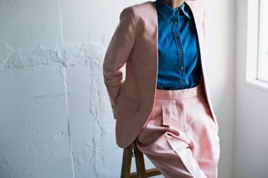 ノーカラージャケットタイプの一つ釦レディースオーダースーツ|lifestyleorder