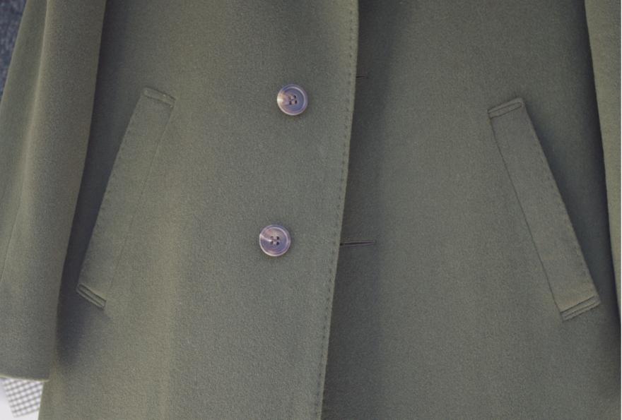 グリーンステンカラーコート,腰ハコポケット