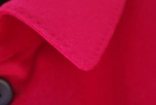 ステンカラーコート衿ハンドステッチ