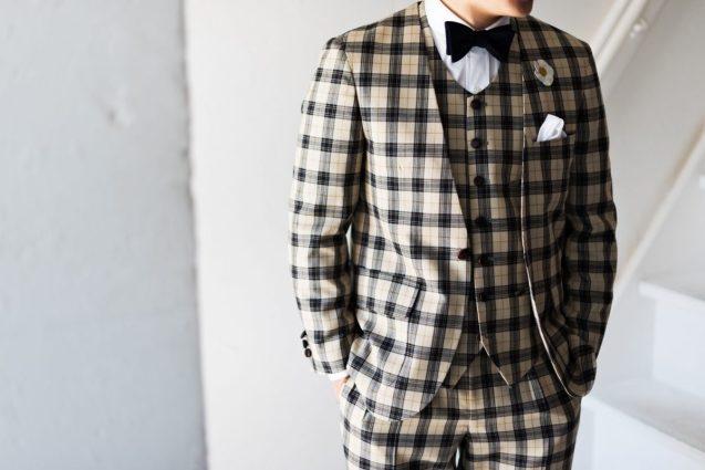 ノーカラースーツ|メンズチェック柄