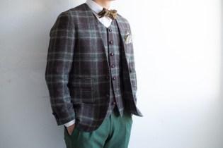 ノーカラースーツ|メンズチェック緑