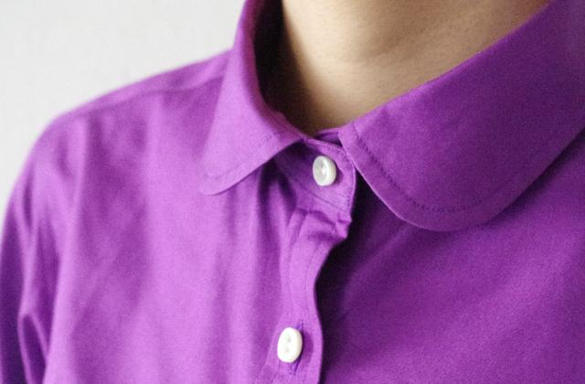 ラウンドカラーシャツ|パープル