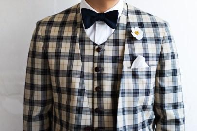 カジュアルウェディングスーツ|チェック柄ラウンドネックべスト
