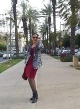 zebra jacket and red dress
