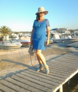 blue dress on the jetty