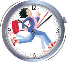 clock and a woman running