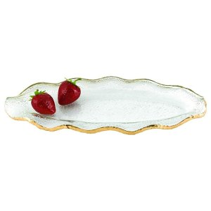 Badash Crystal Goldedge Glass Wavy Platter 14 x 7 inches - F3022L