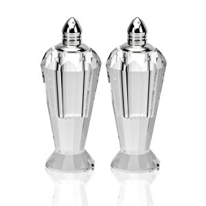 Badash Crystal Handmade Lead Free Crystal Pair Salt & Pepper Set - Preston - 4 inch with Silver Tops - H192P