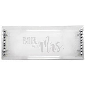 Mariposa MR MRS Pearled Handle Acrylic Tray