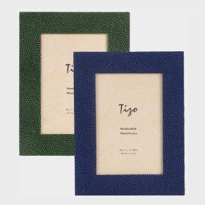 Tizo Design Blue Wood Frame with Polished Wood Back NC403BL