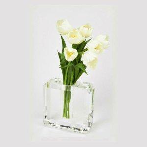 Tizo Design Crystal Glass Hex Edge Medium Vase XY390CLVS