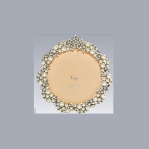 Tizo Design Jeweltone Frame with Crystals 3 one-half Inch Round RS60103