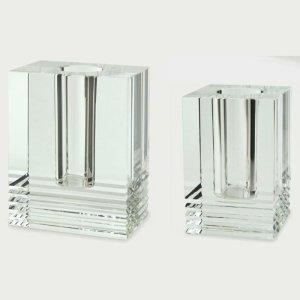 Tizo Design Square Crystal Glass Vase with Cuts PH501VAS PH502VAS
