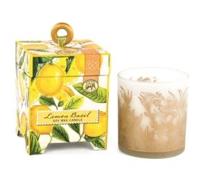 "Michel Design Works <a href=""https://lifestylesgiftware.com/product/michel-design-works-lemon-basil-soy-wax-candle/"">Lemon Basil Soy Wax Candle</a>"