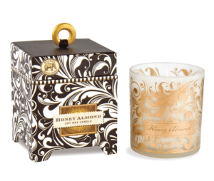 "Michel Design Works <a href=""https://lifestylesgiftware.com/product/michel-design-works-honey-almond-soy-wax-candle/"" target=""_blank"" rel=""noopener noreferrer"">Honey Almond Soy Wax Candle</a>"