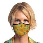 Woman wearing sunflower face mask