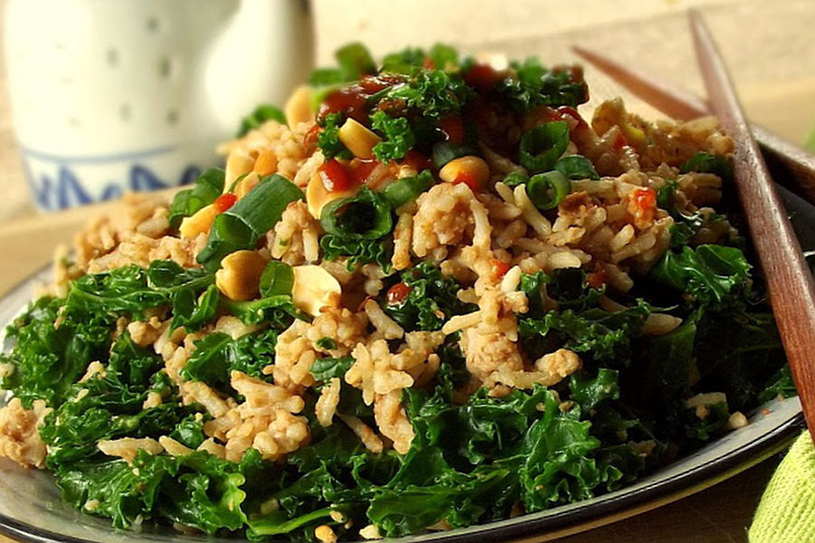 Sunflower rice salad