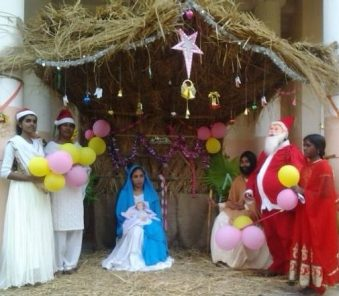 Christmas Nativity in a village