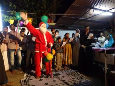 Christmas carols in a village