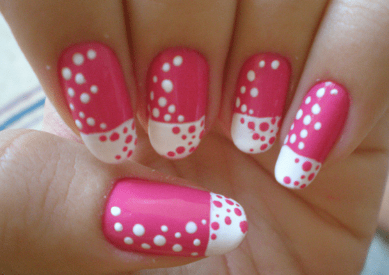 2 Pretty Pink White Polka Dots Design
