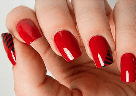 Simple Red Nail Art Design For S With White Dotted