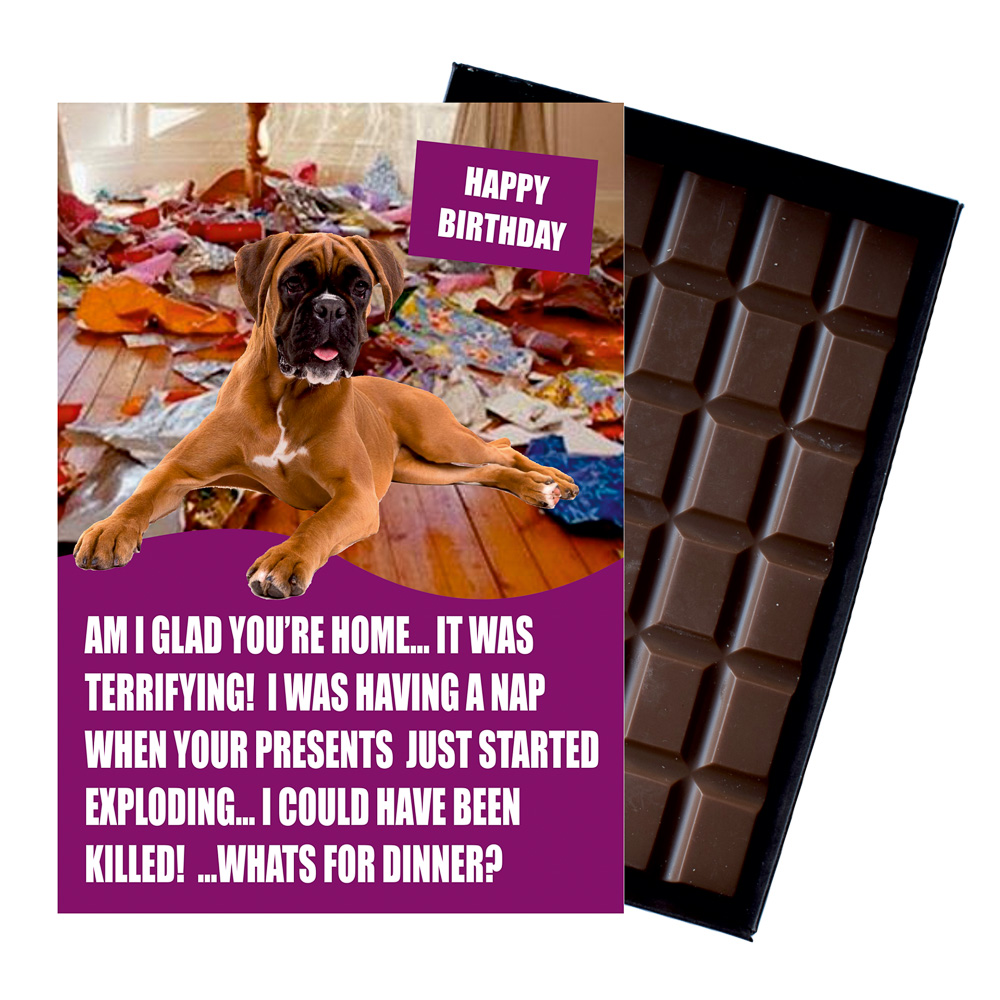 Boxer Dog Funny Birthday Gifts For Dog Lover Boxed Chocolate Greeting Card Present Life S Wicked
