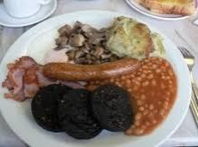 Trad Scottish breakfast with potato Scones and Black Pudding
