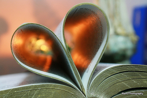 a book with pages folded to form a heart shape