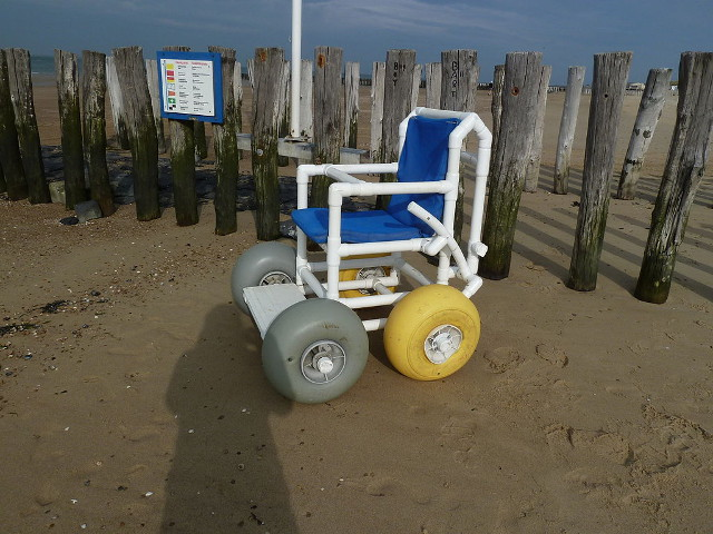 Wheelchair specially built for mobility on the beach