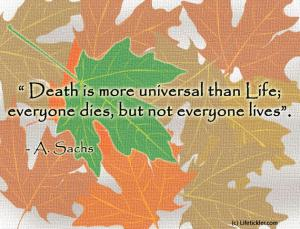 Death is more universal than life