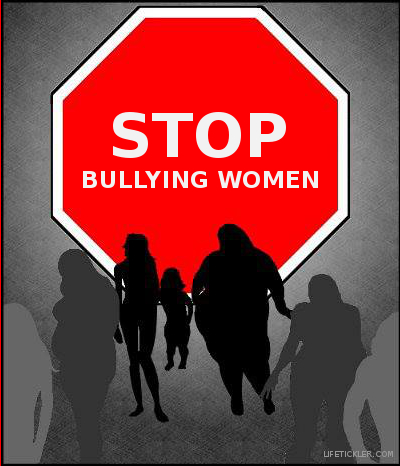 Sign that says stop bullying women