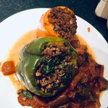 Beef and Rice stuffed peppers with Aubergines.