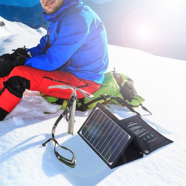 RavPower solar charger for backpacking and travel