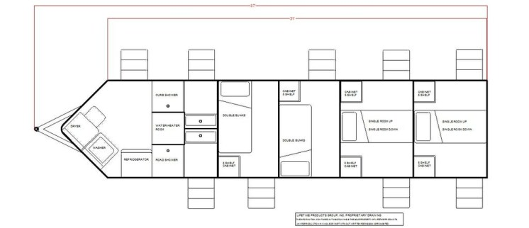 2 single bunk rooms, 2 double bunk rooms, 2 shower rooms and storage/laundry room in v-nose