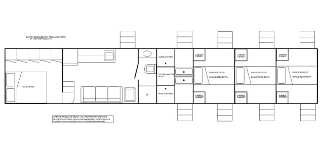 3-room living quarters with bathroom, 6 single bunk rooms, and 2 shower rooms