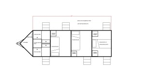 V-nose w/ 2 double bunk rooms, 2 single rooms, & 2 showers