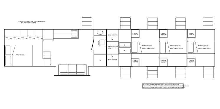2 room living quarters with private bath, 6 single rooms and 2 showers
